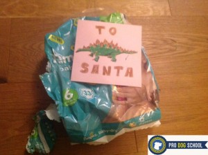 We sent the nappies and a card to santa